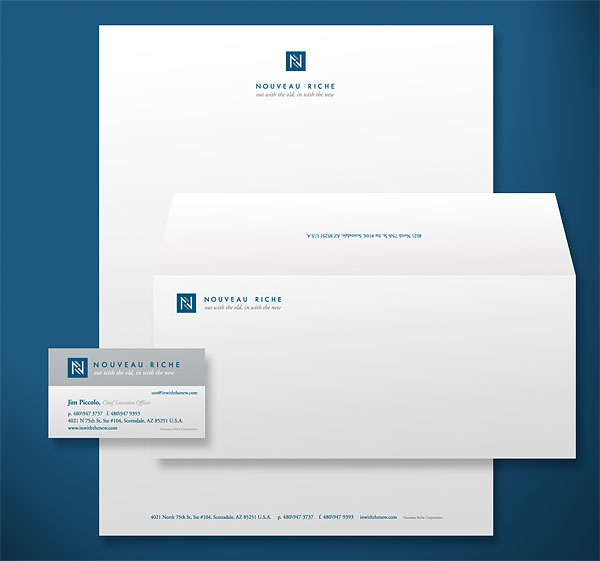 Nouveau Riche Stationery Design
