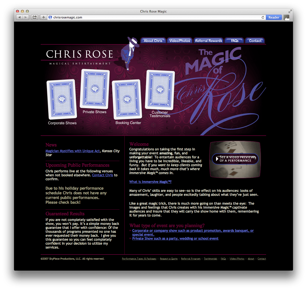 Chris Rose Magic Website Design