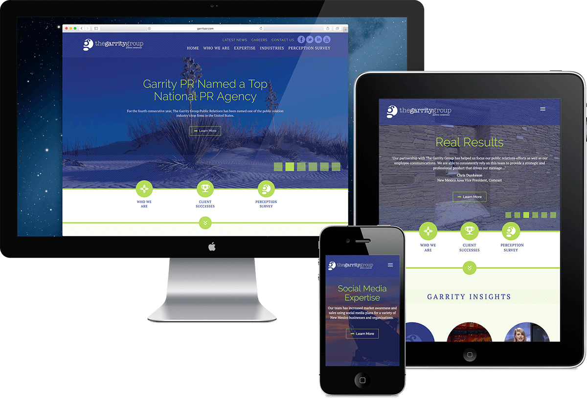Garrity Public Relations website design, Albuquerque, New Mexico