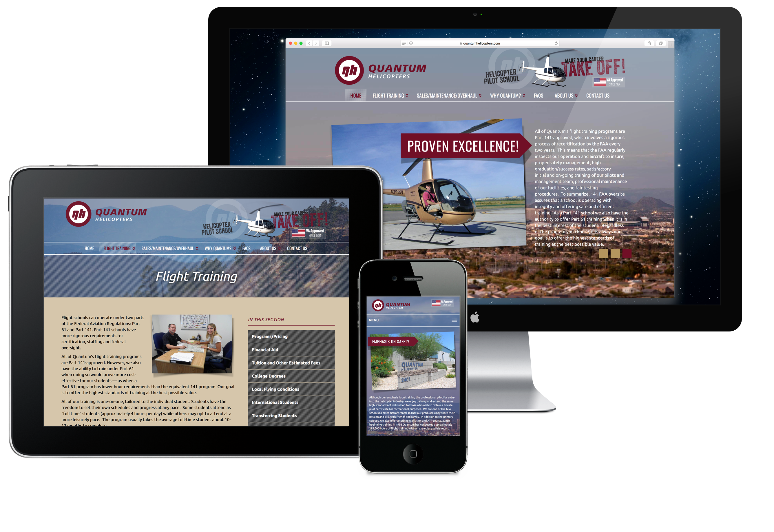 Quantum Helicopters website design