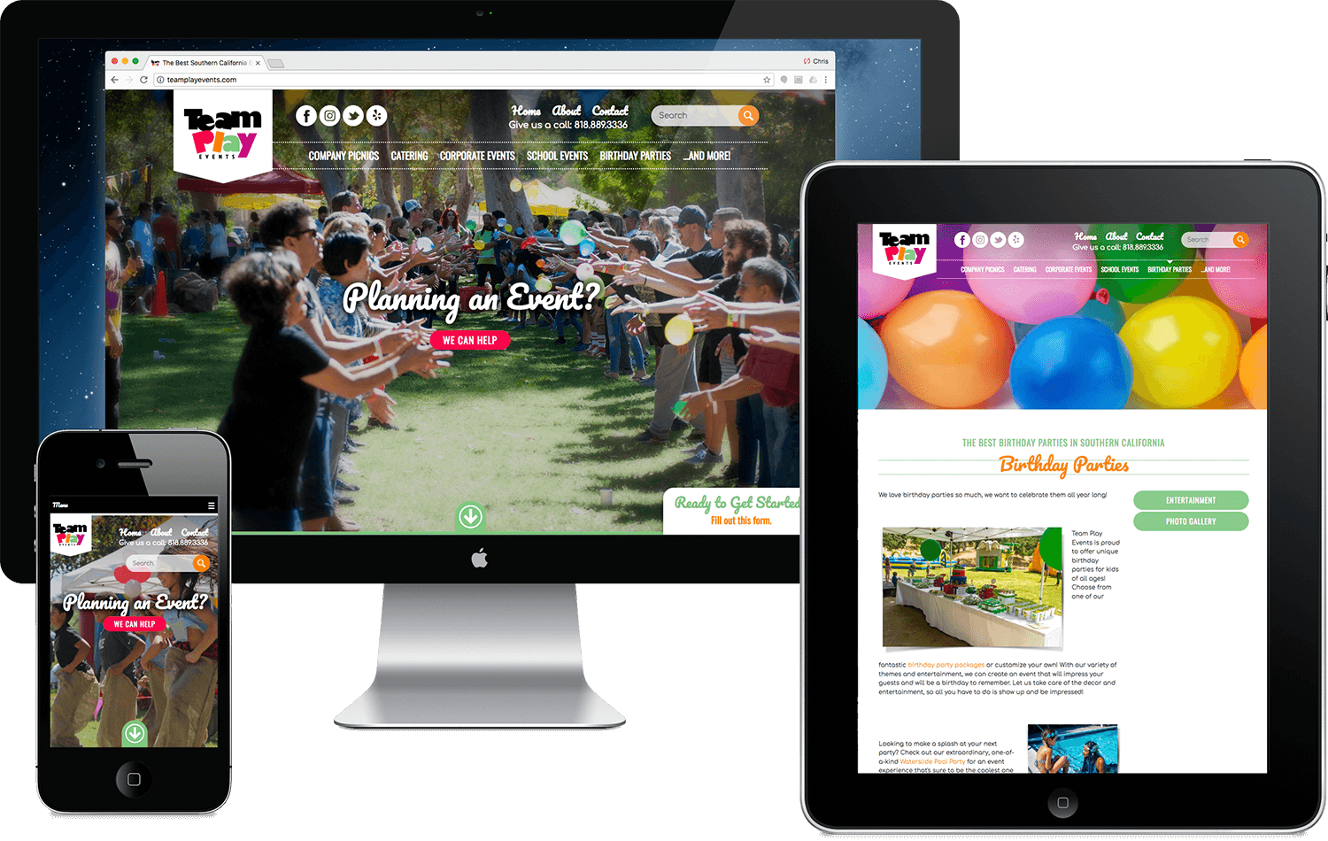 Team Play Events Southern California, website design