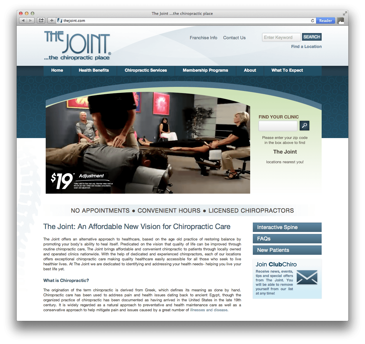 The Joint Website Design